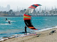 Windsurfers at Crown Memorial Park, South Shore, Alameda, California.  Go to www.YourTravelVideos.com or just click on photo for home videos and much more on sites like this.