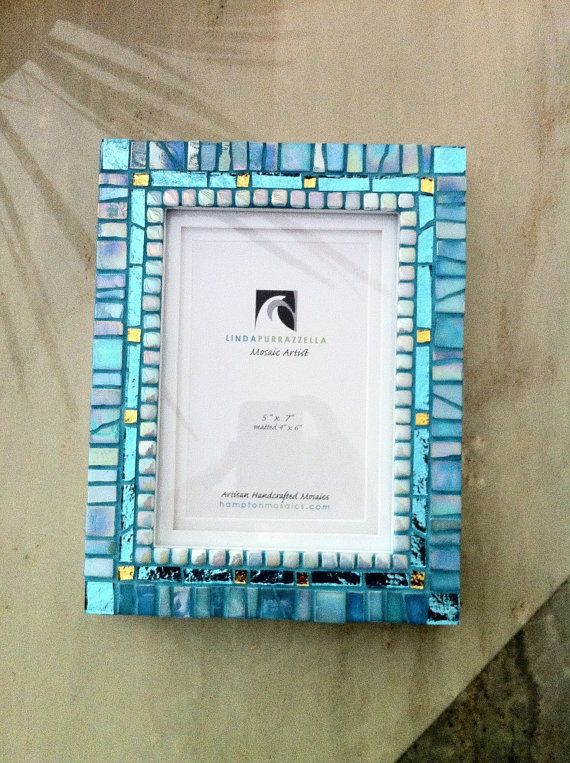 Unique Mosaic Art Photo Frame with Turquoise Teal Picture Frame hand made on Etsy, $135.00