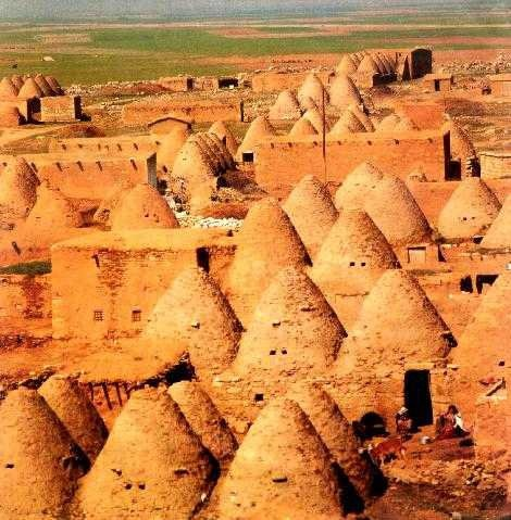 Harran was a major ancient city in Upper Mesopotamia Urfa province Turkey . It is famous for its traditional 'beehive' adobe houses, constructed entirely without wood. The design of these makes them cool inside (essential in this part of the world) and is thought to have been unchanged for at least 3,000 years.
