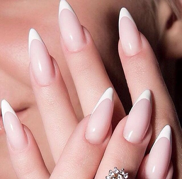 French Tip Stiletto Nails With Design