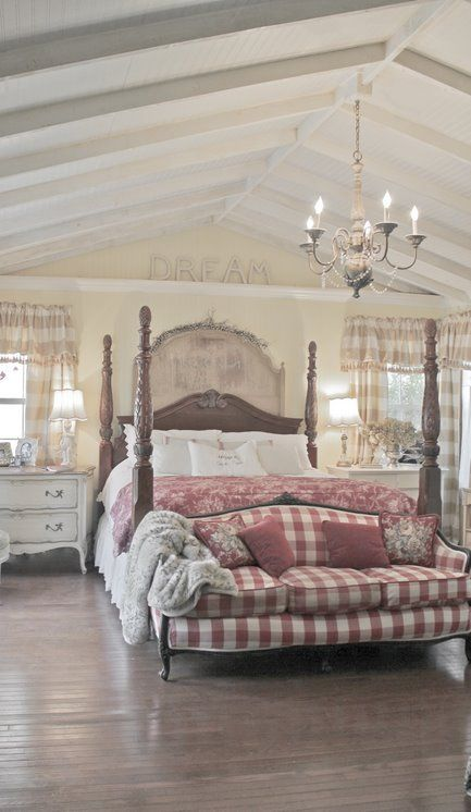 French Country Cottage...love the red checked bedroom: Poster Beds, Dreams Bedrooms, Country Cottages, French Bedrooms, Cottages Bedrooms, Bedrooms Design, French Country, Country Bedrooms, Bedrooms Decor