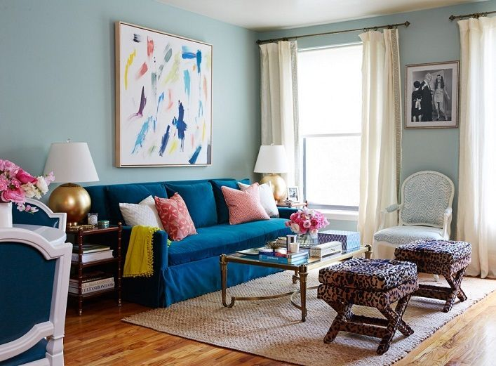 living room decor ideas colorful blue and white living room mix and chic