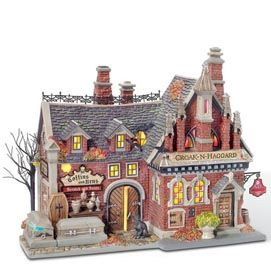 halloween village display department 56 snow village halloween croak n haggard mortuary
