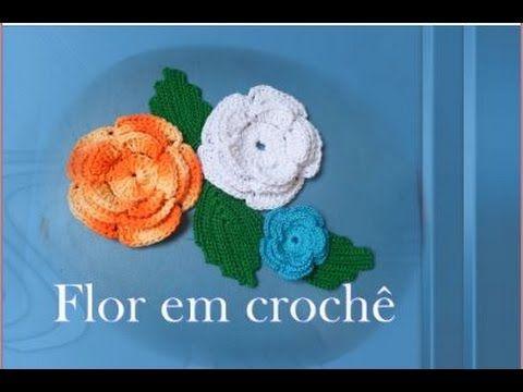 Flor em crochê com 3 camada de petala para aplique - YouTube