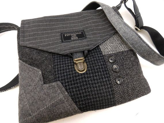 Functional and classy, this recycled suit coat purse makes a statement! I designed and made this purse using recycled mens suit coats. The front of