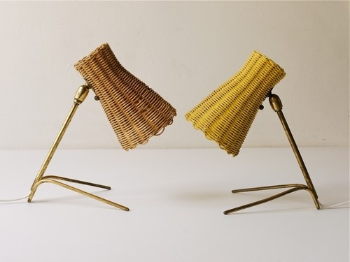 "1950s Kalmar Pair Mid Century Lamps Wickerwork Shades Aubock Era | eBay $690. make offer 9.5"" high"