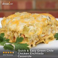 "Quick and Easy Green Chile Chicken Enchilada Casserole | ""My family loved this recipe! Being from Texas, we like things spicy so I added the taco seasoning mix and some chopped mild jalapenos to the chicken/sour cream mixture, and then added even more as garnish. Will definitely serve next time I have a crowd to please."""