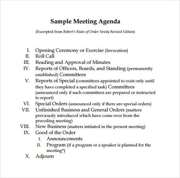 Board Meeting Agenda Templates 10 Printable Word Excel Pdf
