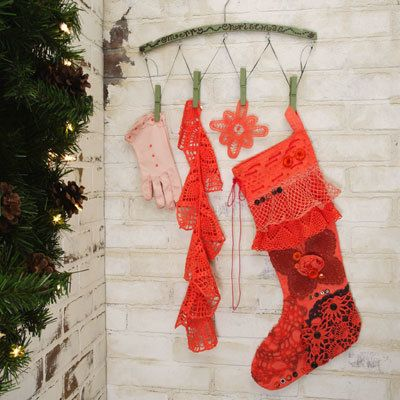 Bohemian Christmas Stocking - These vintage Christmas decorations look right off the set of Little Women.