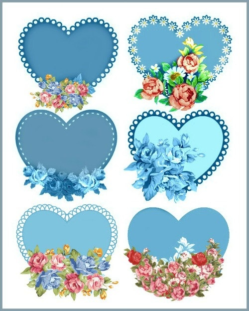 3 beautiful pages - Vintage Hearts with roses, Red, Blue, Pink - Digital Download - scrapbook. via Etsy.