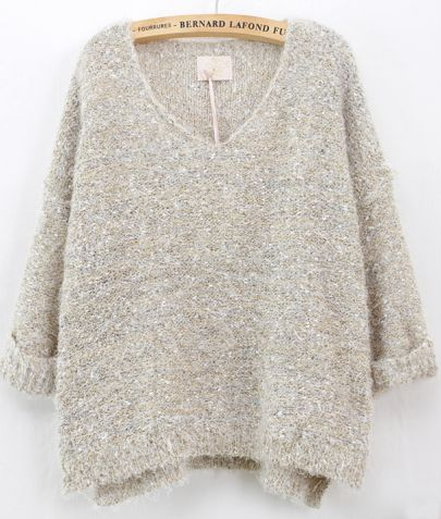 Beige Long Sleeve V Neck Mohair Sweater pictures
