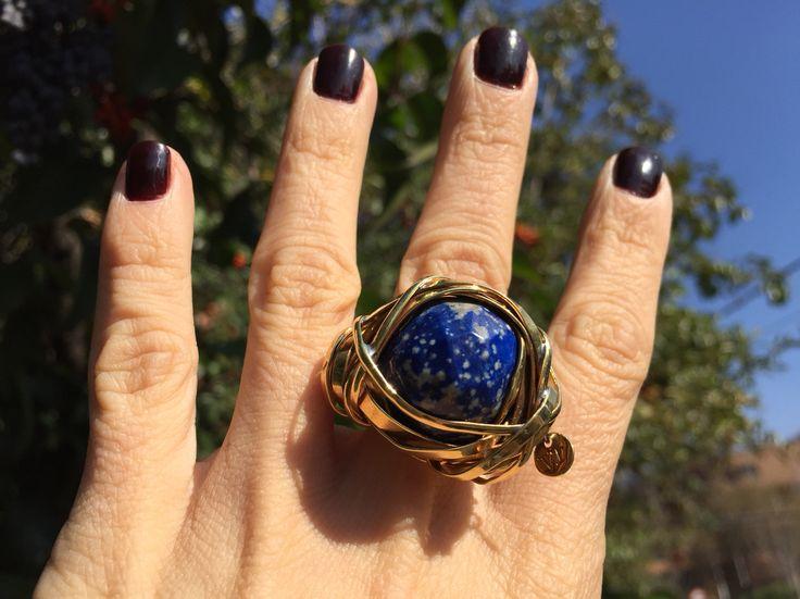 Lapis lazuli Chilean stone blue statement ring