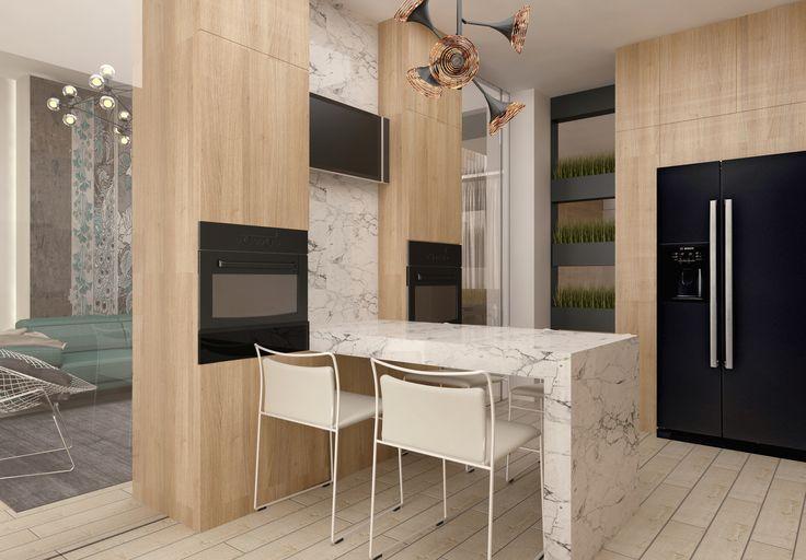#wood #black #white #kitchen # fridge  #shelves #minimalism