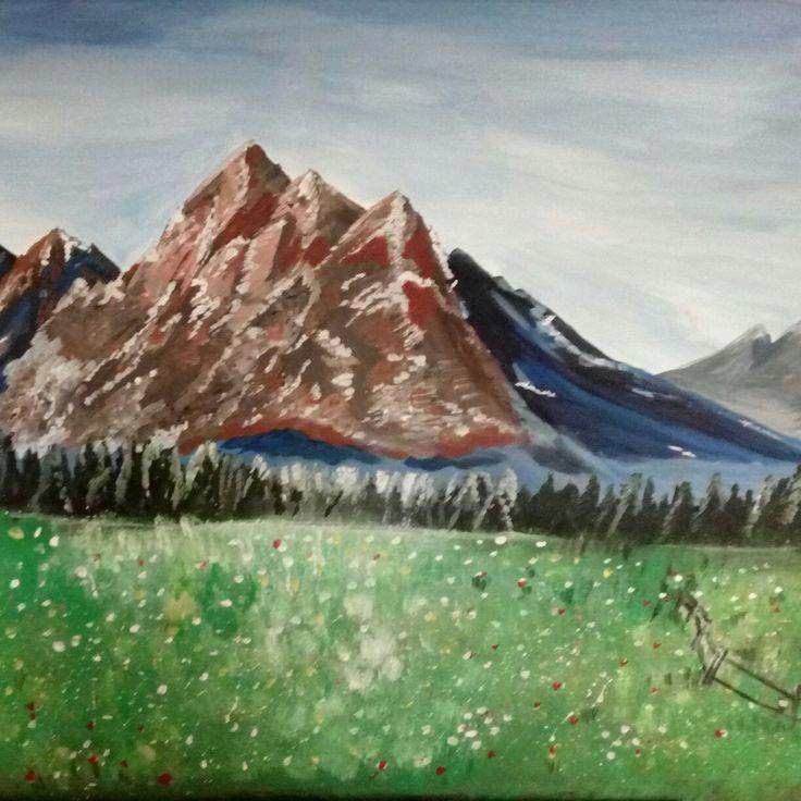 Reggel a hegyeknél akril