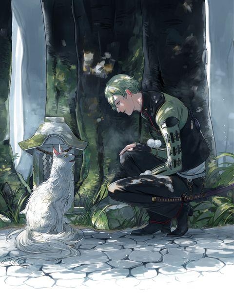 「猫又と鶯丸」/「レンコン」のイラスト [pixiv]