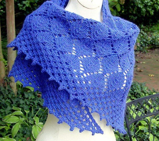 "This shawl is definitely one of my ""favorite""! It is beautiful and very simple to do. You can do it line (as in this case) or w..."