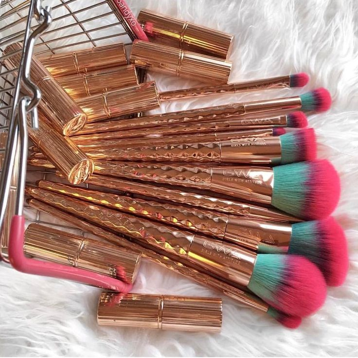 Basket of Rainbows ✨ The GWA Rainbow Collection is back in stock! Bright, colourful 10 piece makeup brush set. Thank you @fromsandyxo for this gorg pic ✨ www.girlswithattitude.co.uk ✨ #GWALondon