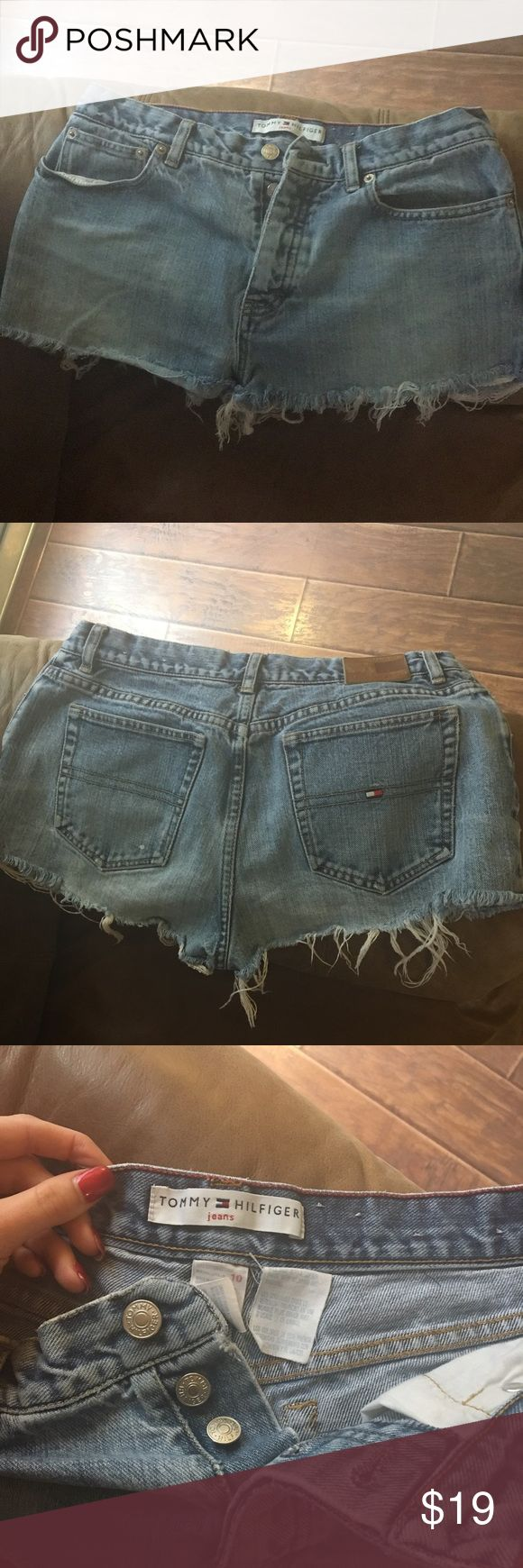 Tommy Hilfiger high-wasted shorts cute, comfy, high waisted, and distressed. Barely worn & in great condition! Size 10 Tommy Hilfiger Shorts Jean Shorts