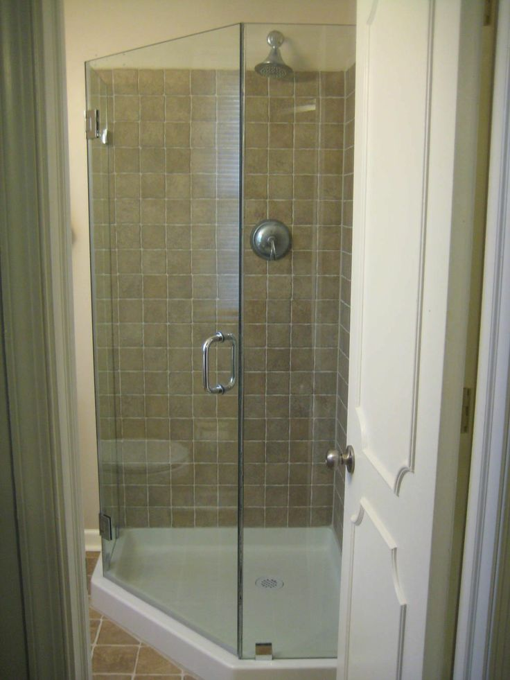 Frameless neoangle shower enclosure, shown with a 36x36