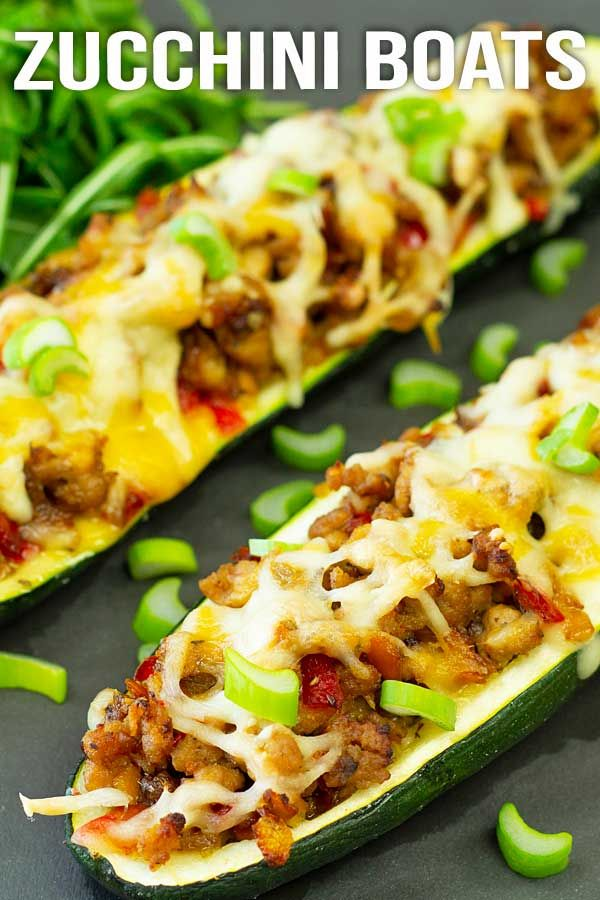 Zucchini boats filled with minced turkey, veggies, herbs ...