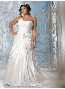 Satin Sheath Column Plus Size Wedding Dress