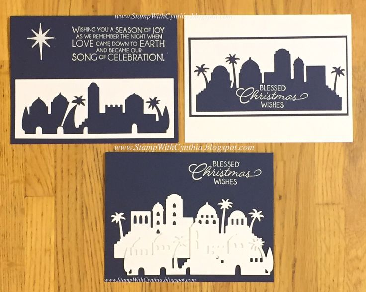 """The three cards created using the Bethlehem thinlit dies and the """"garbage""""leftover stencil pieces after cutting then out....Super easy and elegant using the Night in Bethlehem bundle! - from StampWithCynthia: Thailand Achiever's Blog Hop - Sneak Peek of Night in Bethlehem"""