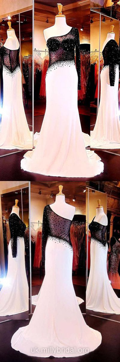 Long Prom Dresses Mermaid, 2018 Formal Dresses Chiffon, Tulle Party Dresses One Shoulder, Long Sleeve Evening Dresses Cheap