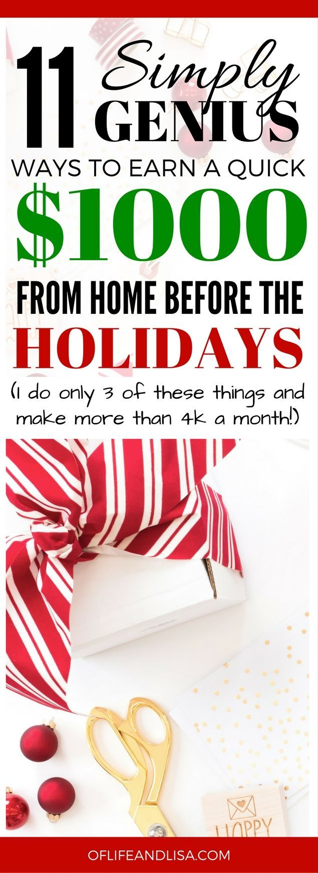 If you want extra cash right before the Holidays, then you'll want to read this post. Some of the easiest ways to make money online and I do three of them that I make a full-time income from! #money #workfromhome #REPIN