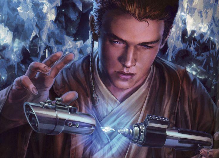 Anakin Skywalker constructs his lightsaber.