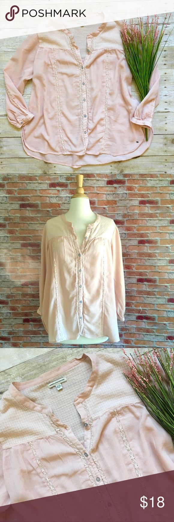 """American Eagle ballet pink button front gauze top Button front gauzy peasant top with lace stripes. In excellent condition. 55/45 cotton, viscose. 25""""L. 24"""" bust laying flat. Size XL. American Eagle Outfitters Tops"""