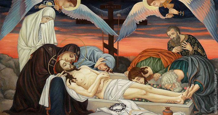 """Фото: *Ибо так возлюбил Бог мир, что отдал Сына Своего единородного, дабы всякий, верующий в Него, не погиб, но имел жизнь вечную. Евангелие от Иоанна 3:16  Храмовая икона """"Плащаница"""" по мотивам В.Васнецова"""