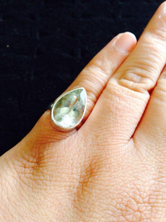 Vintage soft green tear drop amethyst. 925 by ThreeBearsBrown