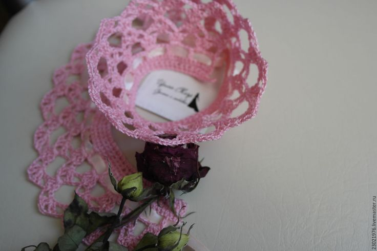 Купить воротничок ажурный Розовое кружево - розовый, однотонный, воротничок съемный, воротничок ажурный, ажурный