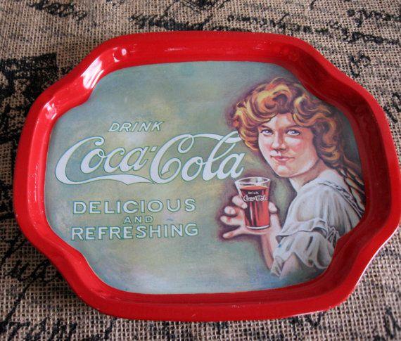 Vintage Coca Cola metal tip tray 1970's woman in by TreasureLoveCo, $8.00