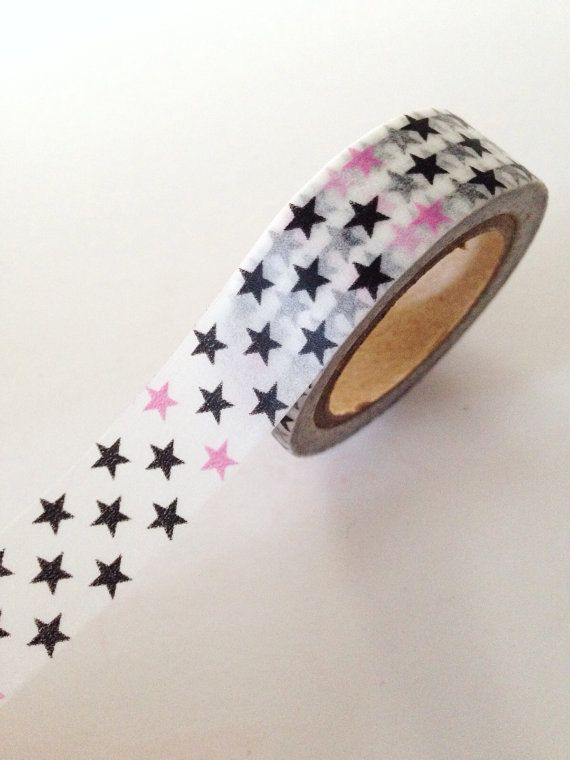 Pink and Black Stars Washi Tape Christmas Holiday Packaging Gift Wrapping
