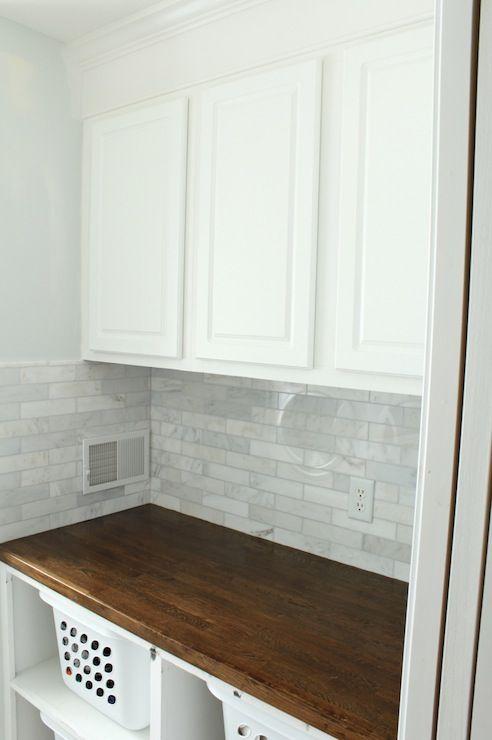 idea butcher blocks subway tile laundry rooms woods countertops