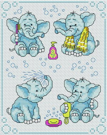 EMBROIDERY – CROSS-STITCH / BORDERIE / BORDUURWERK – ELEPHANT / OLIFANT More