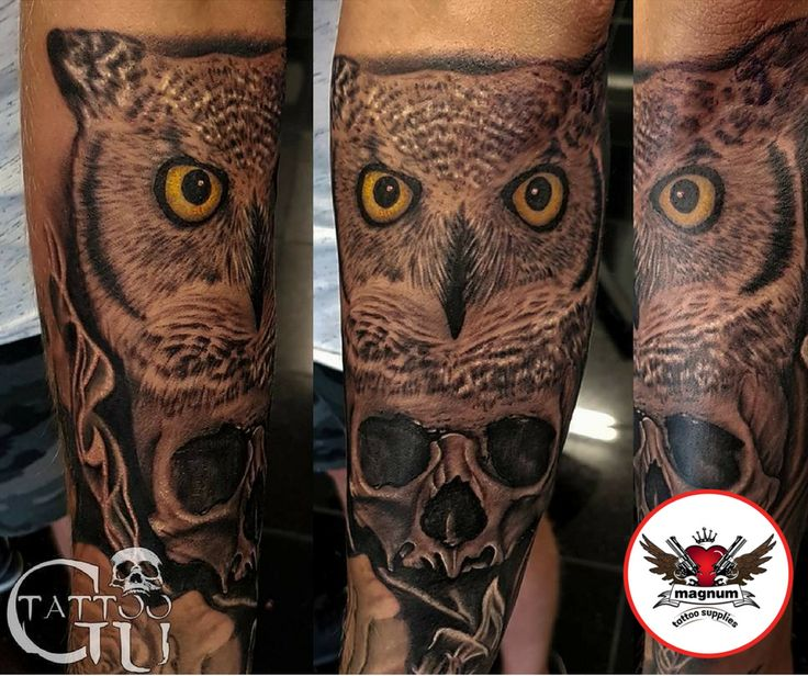 Fantastic owl and skull tattoo done using #magnumtattoosupplies 👊🏼👊🏼 from Tattoos by Gavin Underhill