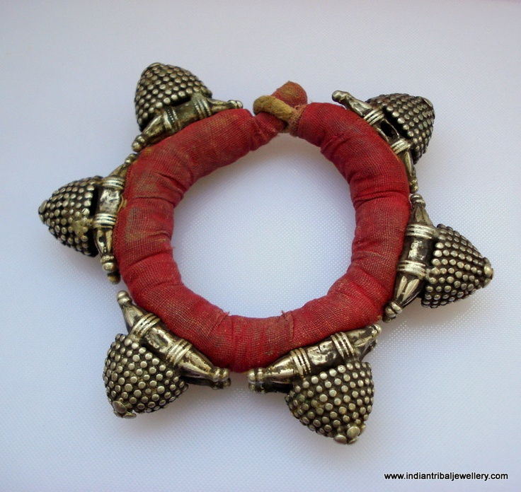 India | A vintage silver and fabric bracelet from Rajasthan.