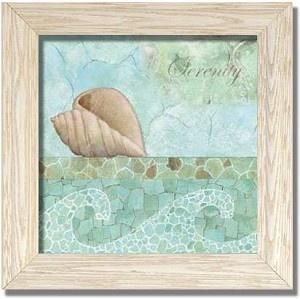 Serenity Relax Spa Bathroom Decor Sand Dollar Shell Art Print Framed