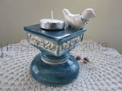 Candle Holder from Tulipe Studios Midnight Blue Manually poured, handpainted ceramic