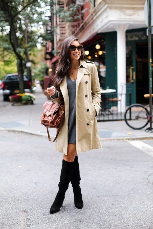 Kat Tanita of With Love From Kat wears a fall sweater dress, Burberry trench coat, Proenza Schouler PS1 bag, and M. Gemi boots in NYC.
