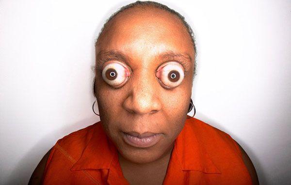 World's Farthest Eyeball Pop Kim Goodman (USA) can pop her eyeballs to a protrusion of 12 mm (0.47 in) beyond her eye sockets
