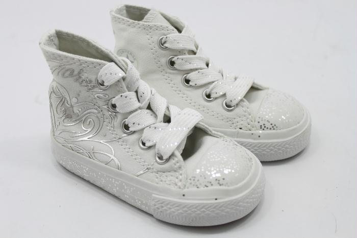 All star white silver print