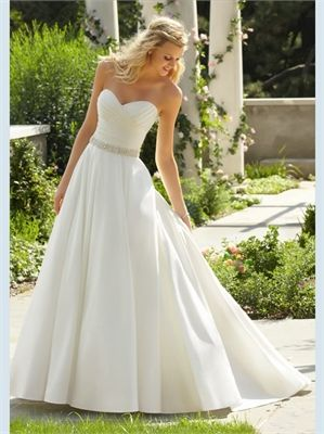 White A Line Sweetheart Beading Sash Satin 2013 Wedding Dresses