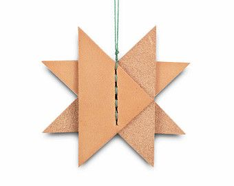 1 Christmas Star Leather Ornament, Holiday Leather Ornament, Holiday Decor, Hostess Gift, Minimalist, Handmade in Brooklyn USA