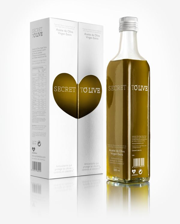 Secret To Live olive oil packaging designed by Soporte Comunicación.