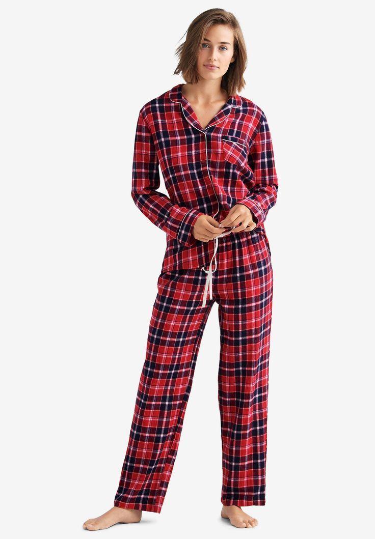 Plaid Flannel Pajama Set By Ellos Poppy Red Navy Plaid Womens Flannel Pajamas Flannel Pajama Sets Flannel Pajamas