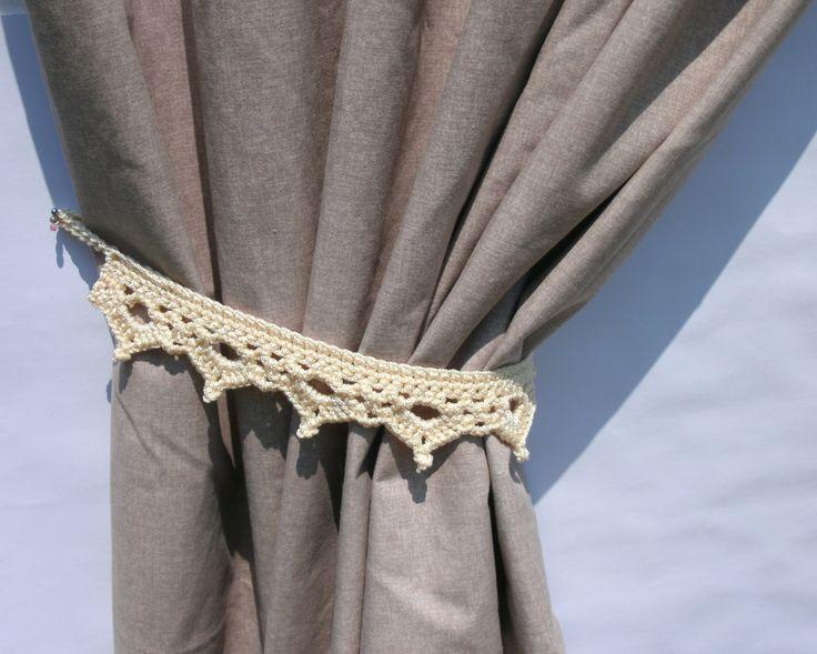 Curtain tie backs Set of two light beige curtain tiebacks Pair of curtain holders Drapery tie-backs Curtain hold backs Crochet curtain tie by CrochetedCosiness on Etsy