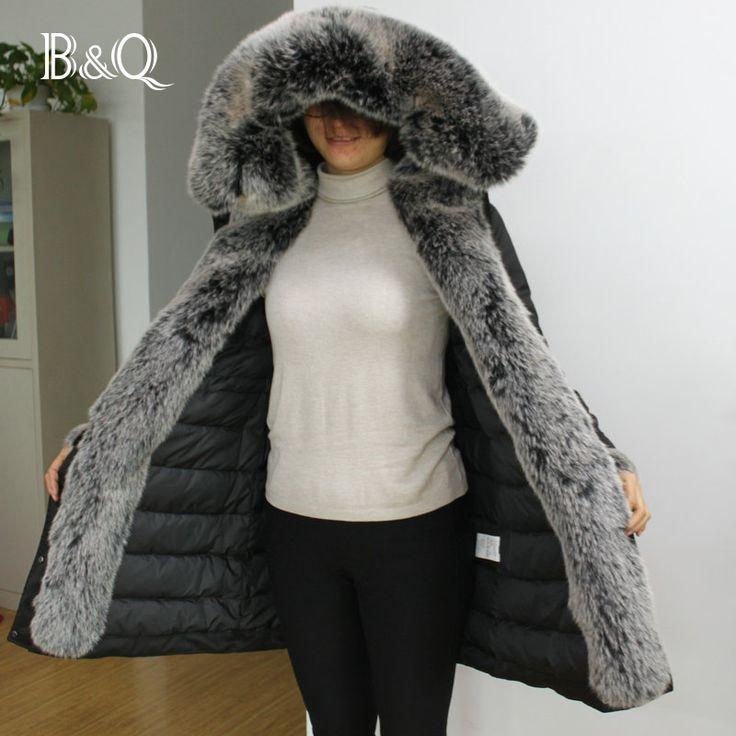 SUPER HOT ! Ultra big fur collar women winter long hooded coat very thick and warm womens duck down jacket parka manteau femme